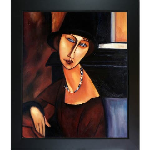 Amedeo Modigliani 'Jeanne Hebuterne' Hand Painted Framed Canvas Art