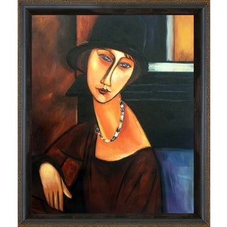 Amedeo  Modigliani 'Jeanne Hebuterne' Hand Painted Framed Canvas Art