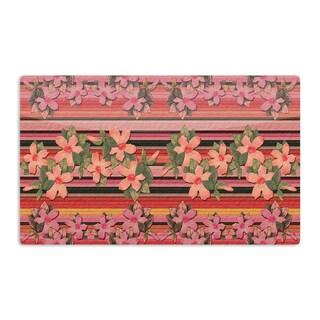 KESS InHouse Nina May 'Peach Hibiscus Stripe' Pink Orange Artistic Aluminum Magnet