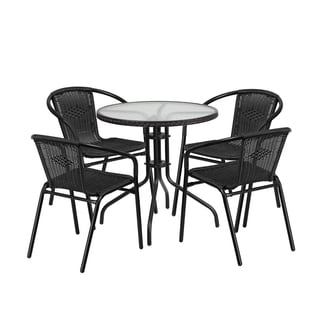 Offex Round Rattan, Glass, and Metal 5-piece Dining Set