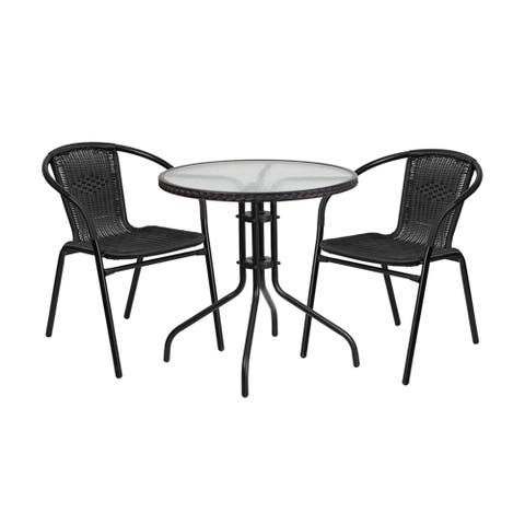 Offex Round Rattan, Glass, and Metal 3-piece Dining set