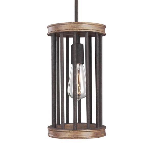 Feiss Locke 1-light Weathered Rustic Iron / Textured Weathered Oak Pendant