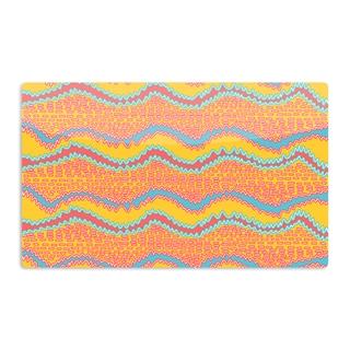 KESS InHouse Nandita Singh 'Pink Waves' Orange Yellow Artistic Aluminum Magnet