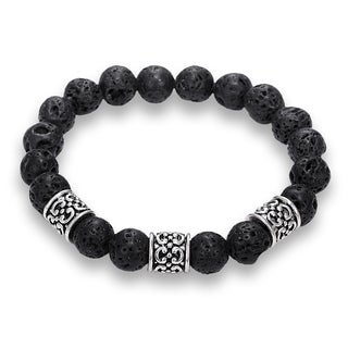 Natural Lava Stone Scroll Design Bracelet