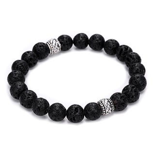 Natural Lava Stone 2 Bead Design Bracelet