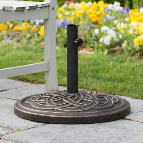 Outdoor Patio Antique Bronze Round Circle Weave Umbrella Base