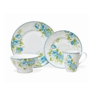Bijoux Rose Blue Porcelain 16-piece Dinnerware Set