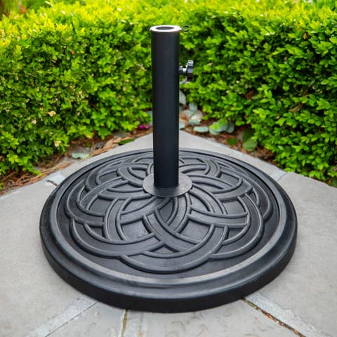 Patio Umbrella Base Circle Weave - Black - 18 x 18 x 13H