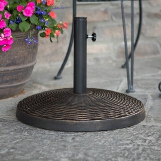 Wicker Style Round Umbrella Base- Antique Bronze