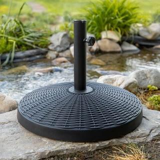 Wicker Style Round Umbrella Base- Black