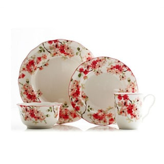 222 Fifth Cherry Blossom Porcelain 16-piece Dinnerware Set