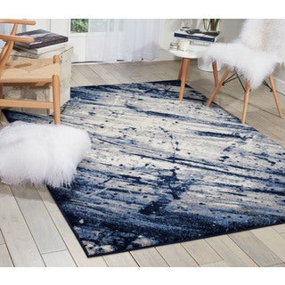 kathy ireland Illusion Ivory/Navy Area Rug (5'3 x 7'4) by Nourison