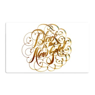 KESS InHouse Roberlan 'Black is the New Gold' Metallic Typography Artistic Aluminum Magnet