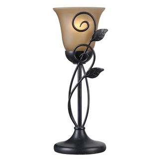 Design Craft Bronze-finish Metal and Glass Shade Vine Table Torchiere