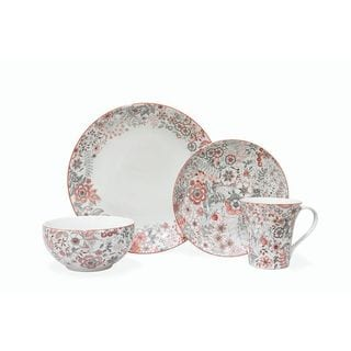 Evangeline Red Porcelain Dinnerware Set (Case of 16 Pieces)