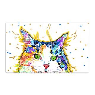 KESS InHouse Rebecca Fischer 'Royal' Rainbow Cat Artistic Aluminum Magnet