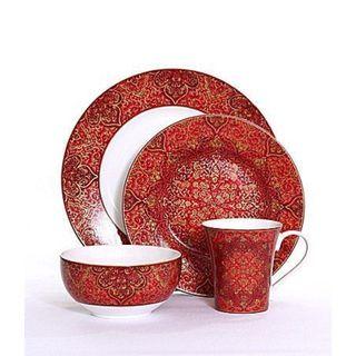 Shop 222 Fifth Eva Opulent Red Porcelain 16 Piece