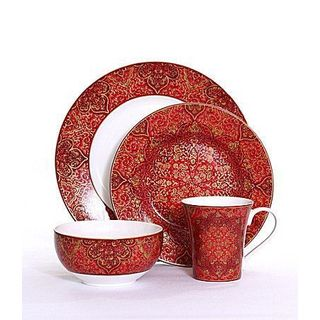 222 Fifth Eva Opulent Red Porcelain 16-piece Dinnerware Set