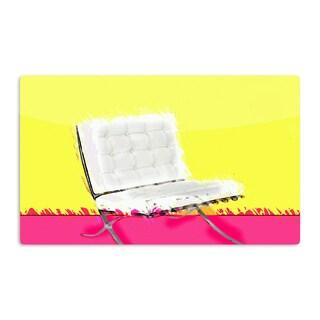 KESS InHouse Oriana Cordero 'Barcelona Chair' Pink Yellow Artistic Aluminum Magnet