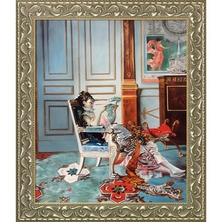 Giovanni Boldini 'Girl Reading in a Salon, 1876' Hand Painted Framed Canvas Art