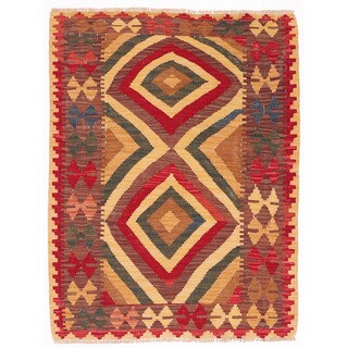 Herat Oriental Afghan Hand-woven Wool Mimana Kilim (2'11 x 3'10)