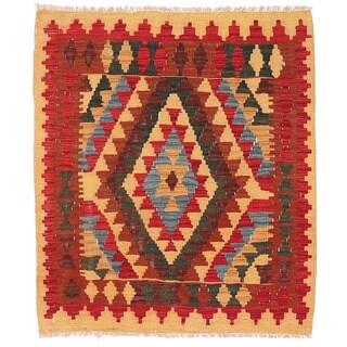Herat Oriental Afghan Hand-woven Wool Mimana Kilim (2'11 x 3'5)
