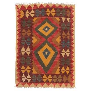 Herat Oriental Afghan Hand-woven Wool Mimana Kilim (2'8 x 3'8)