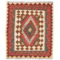Herat Oriental Afghan Hand-woven Wool Mimana Kilim (2'9 x 3'4)