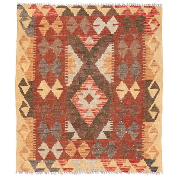 Herat Oriental Afghan Hand-woven Wool Mimana Kilim (2'11 x 3'4)