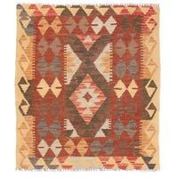 Herat Oriental Afghan Hand-woven Wool Mimana Kilim - 2'11 x 3'4