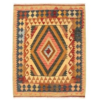 Herat Oriental Afghan Hand-woven Wool Mimana Kilim (2'11 x 3'9)