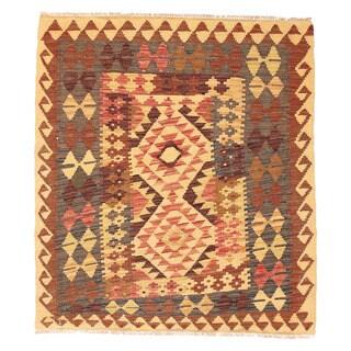 Herat Oriental Afghan Hand-woven Wool Mimana Kilim (3'4 x 3'9)