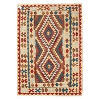 Herat Oriental Afghan Hand-woven Wool Mimana Kilim (3'1 x 4'5)