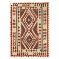 Handmade Herat Oriental Afghan Wool Mimana Kilim  - 3'1 x 4'5 (Afghanistan)