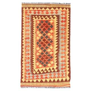 Herat Oriental Afghan Hand-woven Wool Mimana Kilim (2'11 x 4'8)