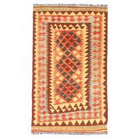 Herat Oriental Afghan Hand-woven Wool Mimana Kilim - 2'11 x 4'8