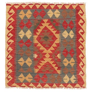 Herat Oriental Afghan Hand-woven Wool Mimana Kilim (3' x 3'2)