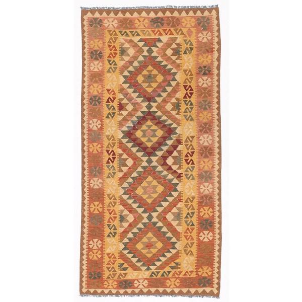 Herat Oriental Afghan Hand-woven Wool Mimana Kilim - 3'2 x 6'6