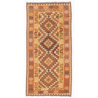Herat Oriental Afghan Hand-woven Wool Mimana Kilim (3'2 x 6'6)