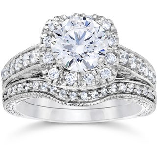 14k White Gold 1 3/4ct Clarity Enhanced Cushion-cut Diamond Halo Vintage Bridal Set (H-I, I1-I2)