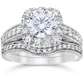 14k White Gold 1 3 4ct Clarity Enhanced Cushion Cut Diamond Halo Vintage Bridal Set