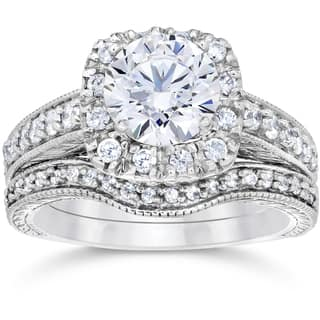 14k White Gold 1 3/4ct Clarity Enhanced Cushion-cut Diamond Halo Vintage Bridal Set|https://ak1.ostkcdn.com/images/products/12150282/P19004697.jpg?impolicy=medium