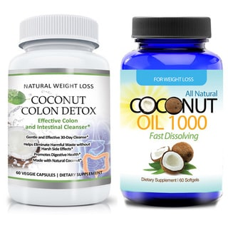 Gentle Coconut Colon Detox Cleanse Supplement and Organic Virgin Coconut Oil 2-piece Set (60 Capsules Each)