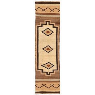 Herat Oriental Afghan Hand-woven Wool Mimana Kilim Runner (3'5 x 13'3)
