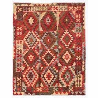 Herat Oriental Afghan Hand-woven Wool Mimana Kilim (4'9 x 5'11)