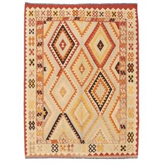 Herat Oriental Afghan Hand-woven Wool Mimana Kilim Rug (4'11 x 6'8)