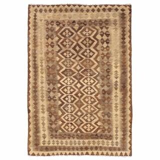 Herat Oriental Afghan Hand-woven Wool Mimana Kilim (5'1 x 7'5)