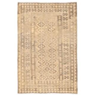 Herat Oriental Afghan Hand-woven Wool Mimana Kilim (5'1 x 7'8)