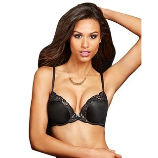 Maidenform Women's Comfort Devotion Black Nylon Push-up Bra