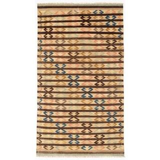 Herat Oriental Afghan Hand-woven Wool Mimana Kilim (5'6 x 9'9)